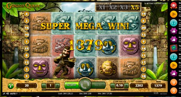 VideoSlots - 07 - Gonzos Quest super mega win